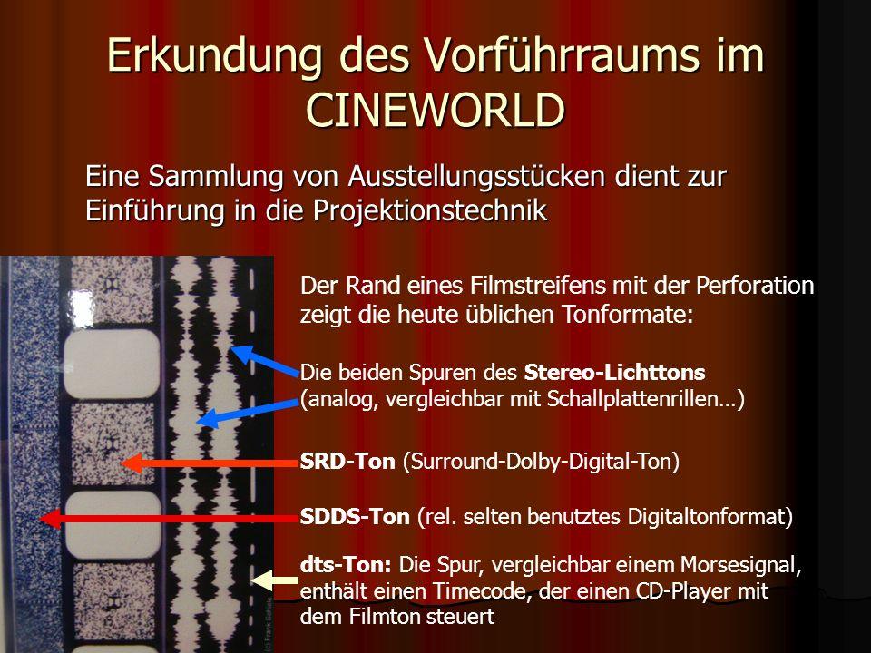 Erkundung des Vorführraums im CINEWORLD Die Vorführmaschinen im CINEWORLD – letzter Stand der Technik in der analogen Filmvorführung am Übergang zur volldigitalen Projektion….