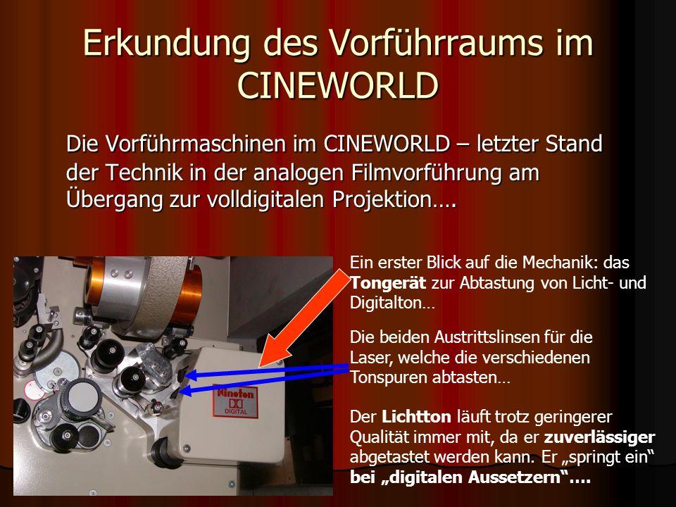 Erkundung des Vorführraums im CINEWORLD Der Sound – Teil des Kinoerlebnisses… Damit ein Kino das THX-Zertifikat be- kommt, muss es höch- ste Anforderungen er- füllen.