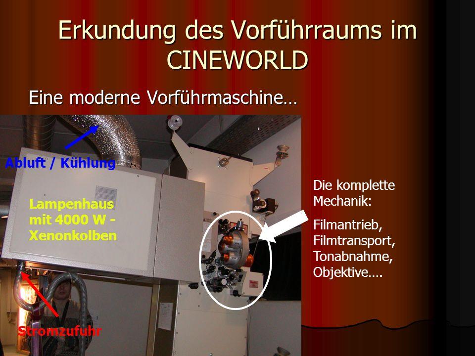 Erkundung des Vorführraums im CINEWORLD Der Sound – Teil des Kinoerlebnisses… Der Verstärkerturm für einen Kinosaal liefert über 10 000 Watt Leistung…