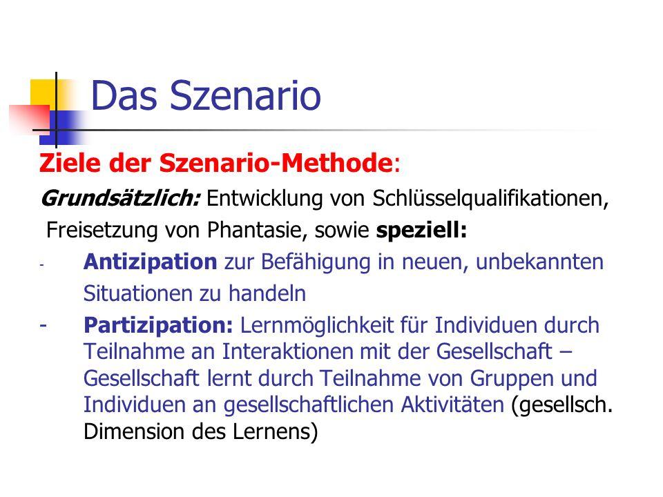 Das Szenario Ziele der Szenario-Methode: Grundsätzlich: Entwicklung von Schlüsselqualifikationen, Freisetzung von Phantasie, sowie speziell: - Antizip