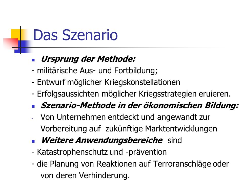 Das Szenario Definition (bez.