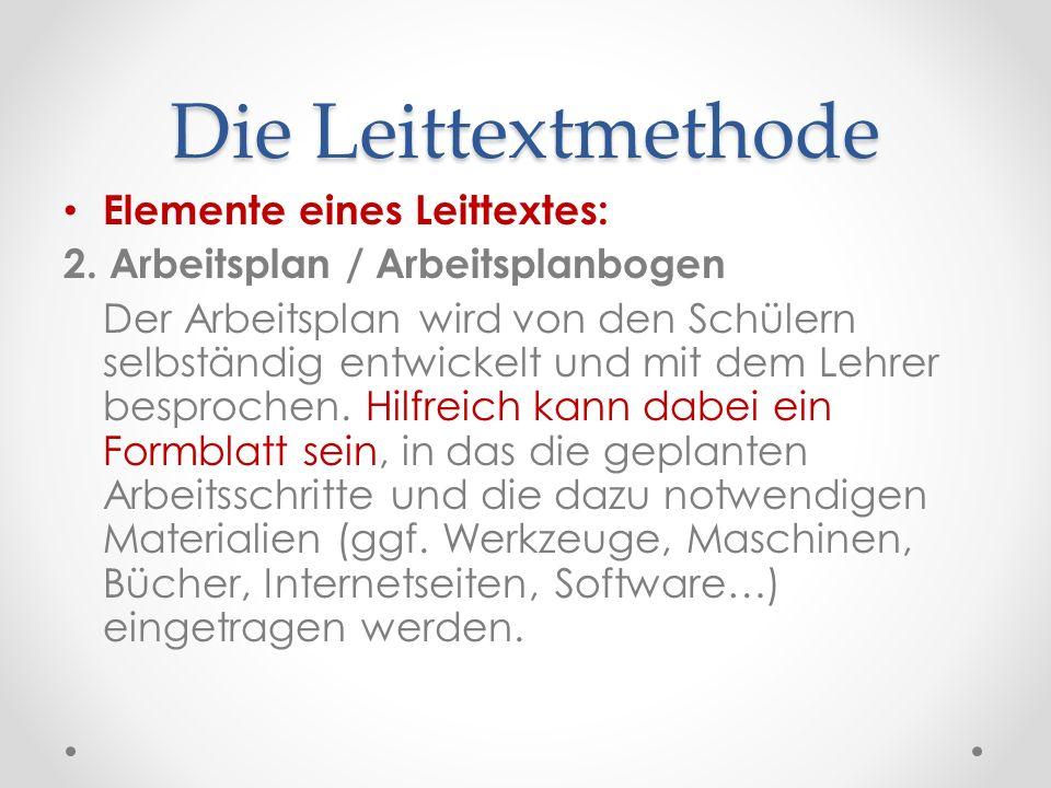 Die Leittextmethode Elemente eines Leittextes: 2. Arbeitsplan / Arbeitsplanbogen Der Arbeitsplan wird von den Schülern selbständig entwickelt und mit