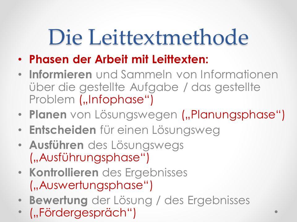 Die Leittextmethode Phasen der Arbeit mit Leittexten: Informieren und Sammeln von Informationen über die gestellte Aufgabe / das gestellte Problem (In