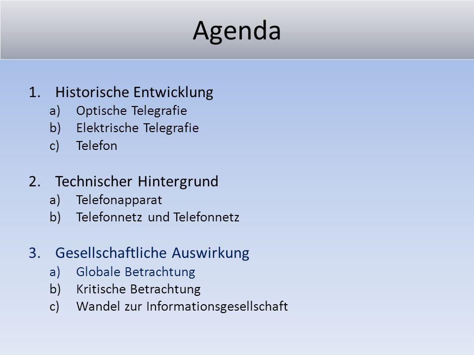 Agenda 1.Historische Entwicklung a)Optische Telegrafie b)Elektrische Telegrafie c)Telefon 2.Technischer Hintergrund a)Telefonapparat b)Telefonnetz und