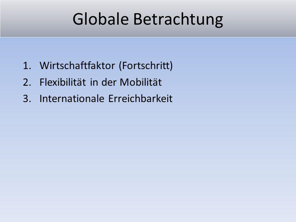 Globale Betrachtung 1.Wirtschaftfaktor (Fortschritt) 2.Flexibilität in der Mobilität 3.Internationale Erreichbarkeit