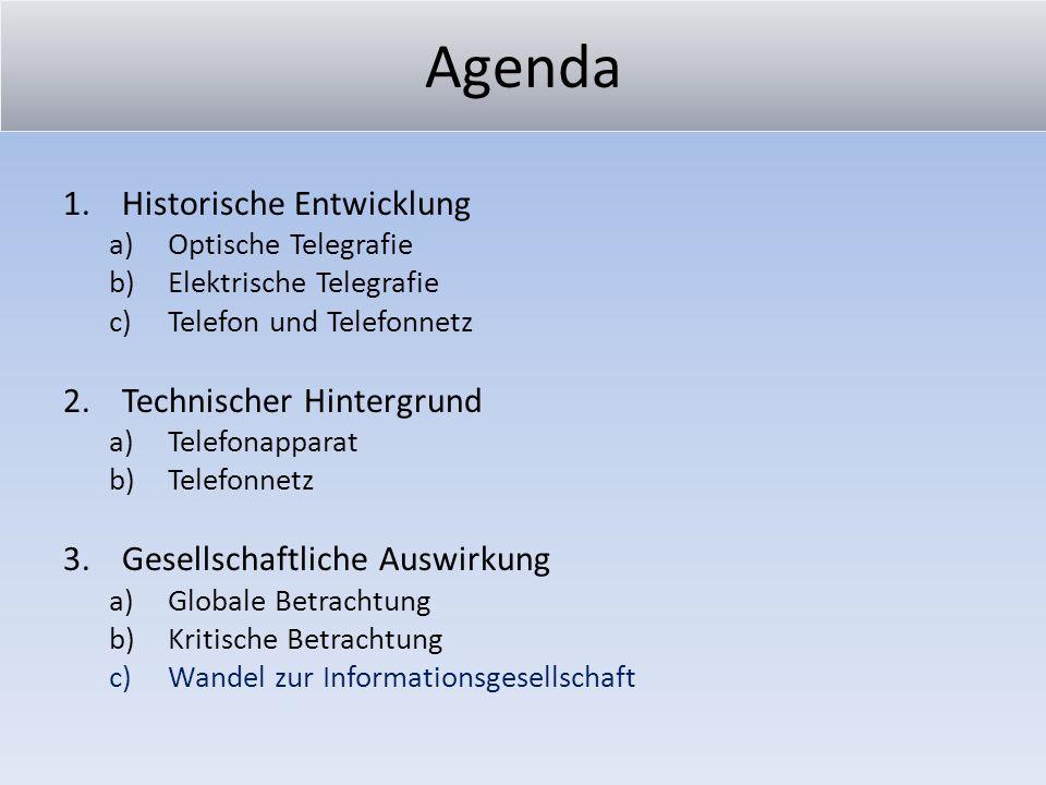 Agenda 1.Historische Entwicklung a)Optische Telegrafie b)Elektrische Telegrafie c)Telefon und Telefonnetz 2.Technischer Hintergrund a)Telefonapparat b
