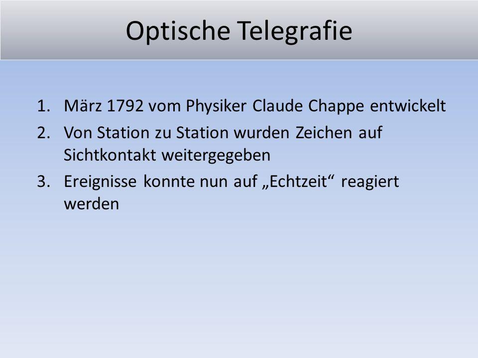 Optische Telegrafie 1.März 1792 vom Physiker Claude Chappe entwickelt 2.Von Station zu Station wurden Zeichen auf Sichtkontakt weitergegeben 3.Ereigni