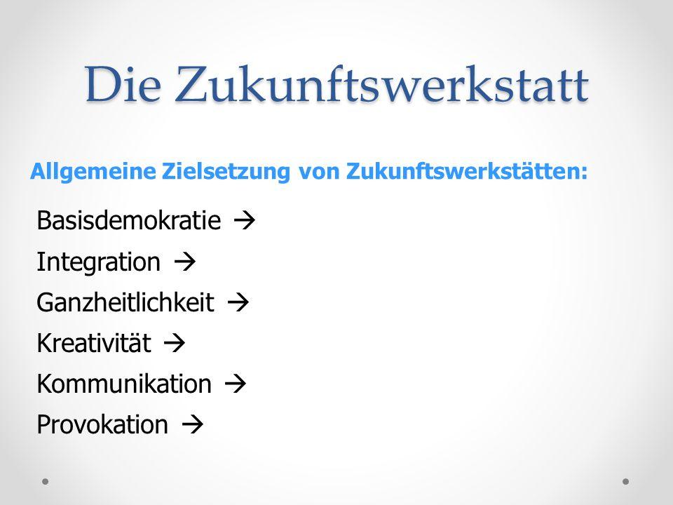 Die Zukunftswerkstatt Allgemeine Zielsetzung von Zukunftswerkstätten: Basisdemokratie Integration Ganzheitlichkeit Kreativität Kommunikation Provokati