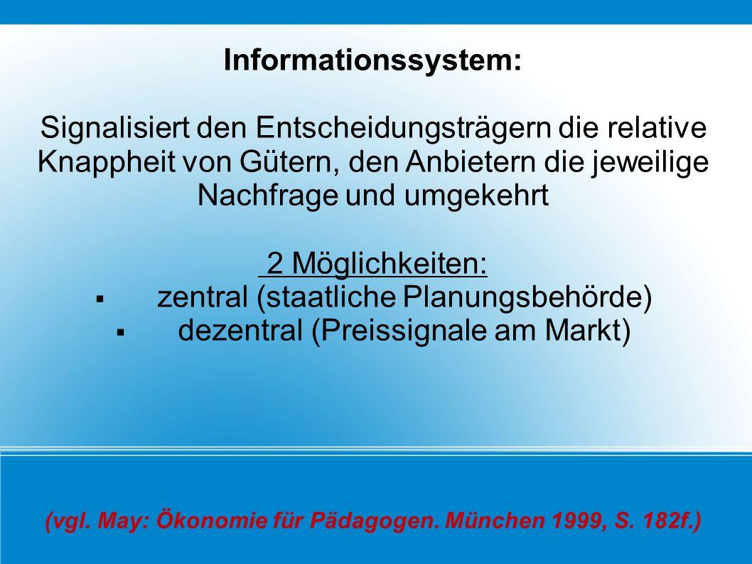 Informationssystem: Signalisiert den Entscheidungsträgern die relative Knappheit von Gütern, den Anbietern die jeweilige Nachfrage und umgekehrt 2 Mög