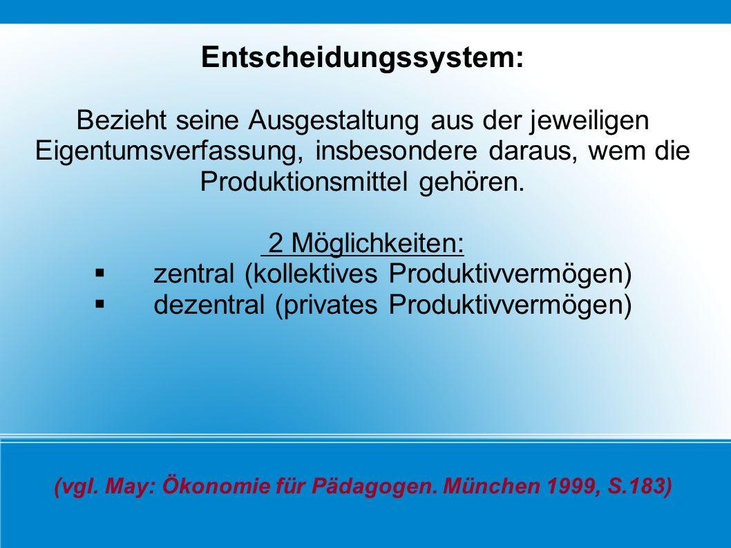 Entscheidungssystem: Bezieht seine Ausgestaltung aus der jeweiligen Eigentumsverfassung, insbesondere daraus, wem die Produktionsmittel gehören. 2 Mög