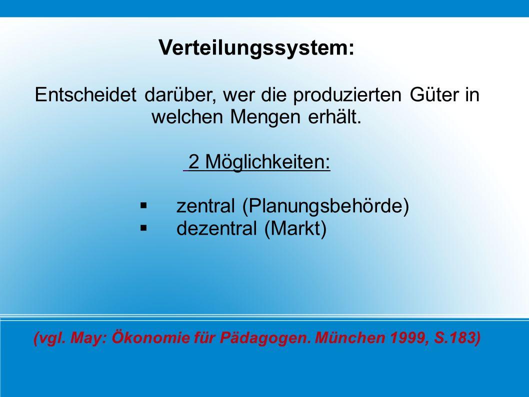 Verteilungssystem: Entscheidet darüber, wer die produzierten Güter in welchen Mengen erhält. 2 Möglichkeiten: zentral (Planungsbehörde) dezentral (Mar