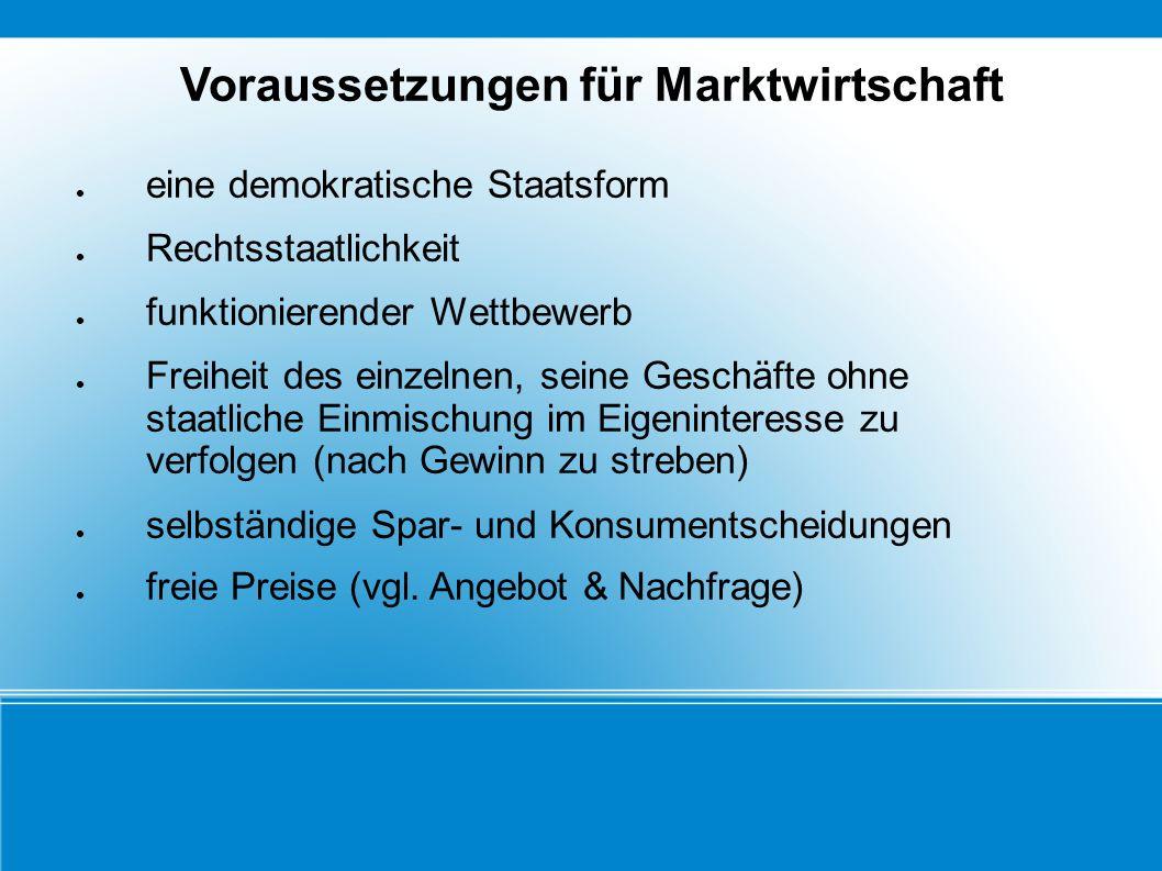 Voraussetzungen für Marktwirtschaft eine demokratische Staatsform Rechtsstaatlichkeit funktionierender Wettbewerb Freiheit des einzelnen, seine Geschä