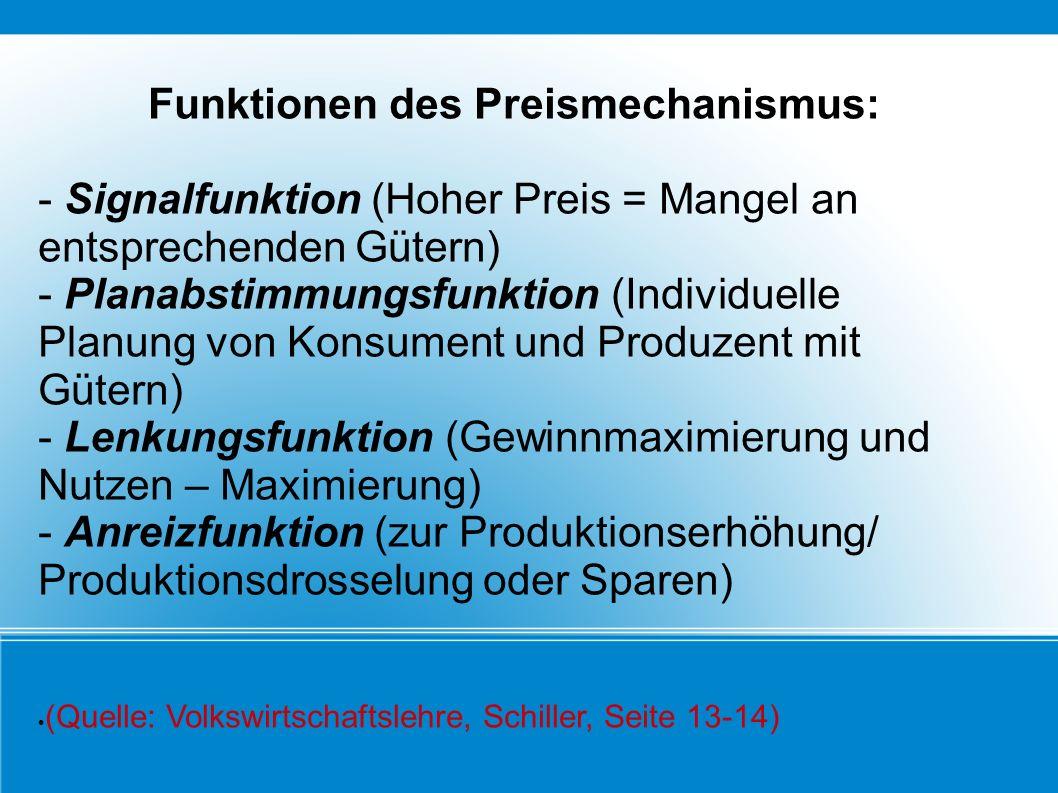 Funktionen des Preismechanismus: - Signalfunktion (Hoher Preis = Mangel an entsprechenden Gütern) - Planabstimmungsfunktion (Individuelle Planung von