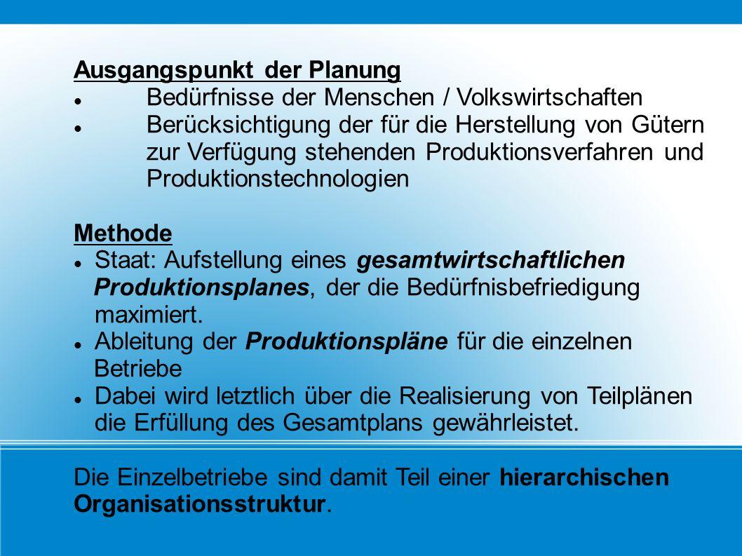 Ausgangspunkt der Planung Bedürfnisse der Menschen / Volkswirtschaften Berücksichtigung der für die Herstellung von Gütern zur Verfügung stehenden Pro