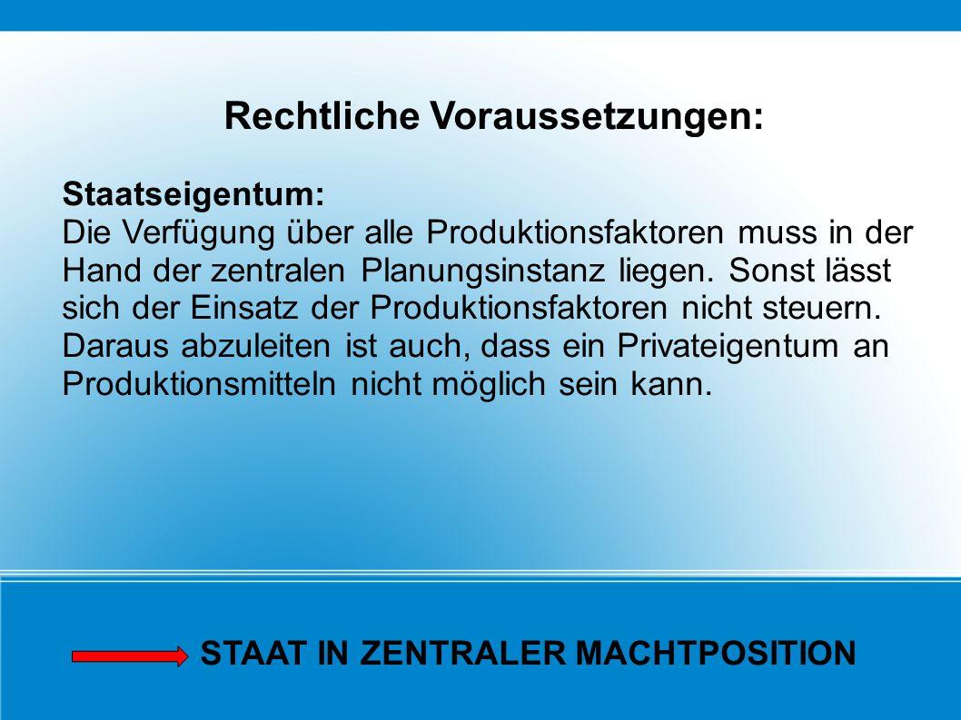 Rechtliche Voraussetzungen: Staatseigentum: Die Verfügung über alle Produktionsfaktoren muss in der Hand der zentralen Planungsinstanz liegen. Sonst l