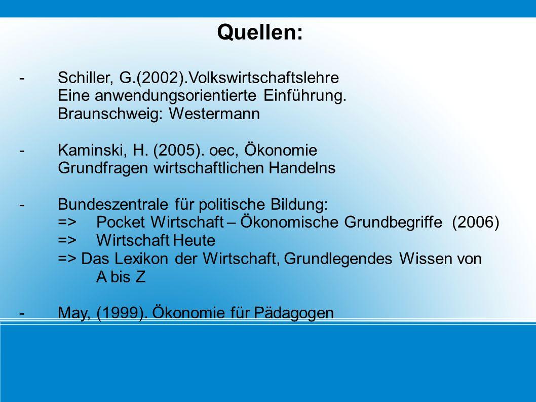 Quellen: - Schiller, G.(2002).Volkswirtschaftslehre Eine anwendungsorientierte Einführung. Braunschweig: Westermann -Kaminski, H. (2005). oec, Ökonomi