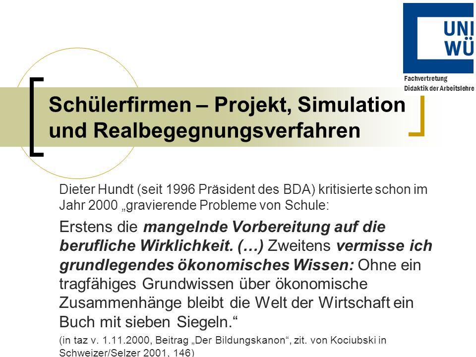 Schülerfirmen – Projekt, Simulation und Realbegegnungsverfahren Dieter Hundt (seit 1996 Präsident des BDA) kritisierte schon im Jahr 2000 gravierende