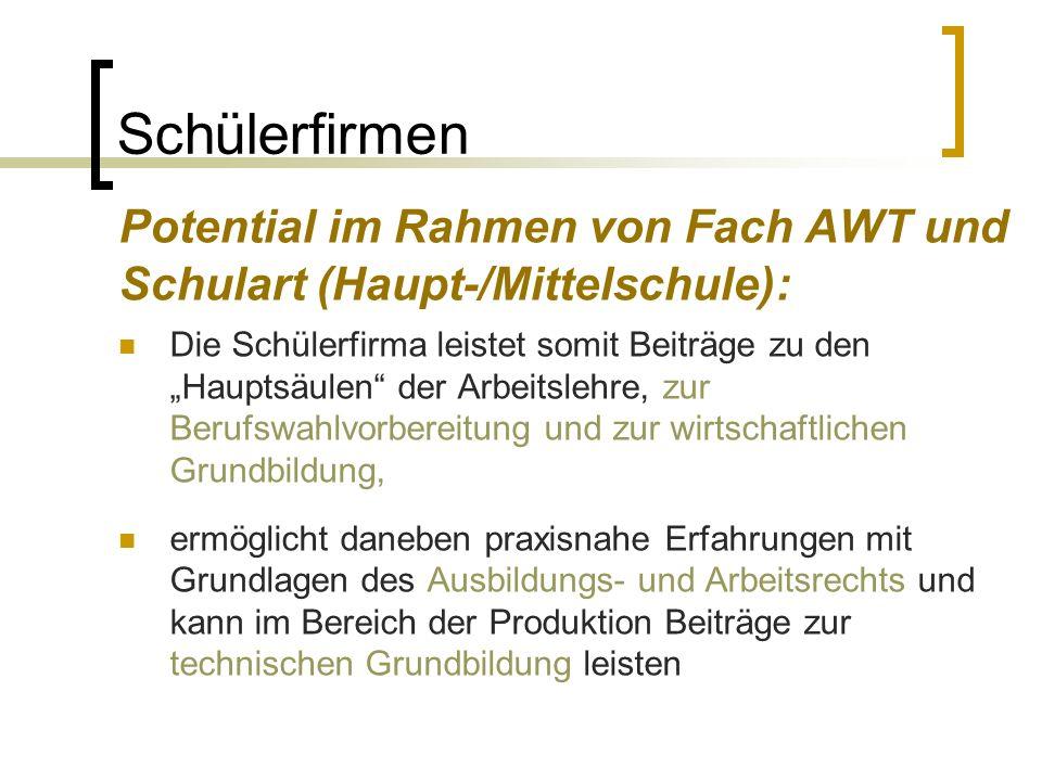 Schülerfirmen Potential im Rahmen von Fach AWT und Schulart (Haupt-/Mittelschule): Die Schülerfirma leistet somit Beiträge zu den Hauptsäulen der Arbe