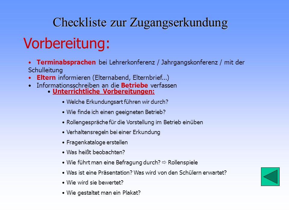Checkliste zur Zugangserkundung Vorbereitung: Terminabsprachen bei Lehrerkonferenz / Jahrgangskonferenz / mit der Schulleitung Eltern informieren (Elt