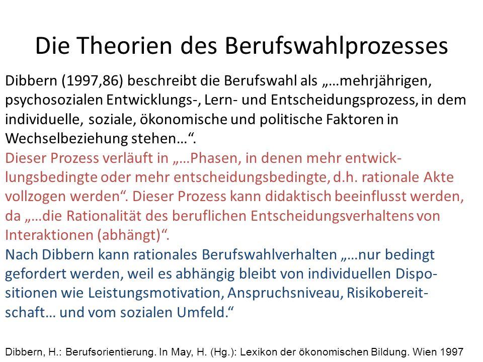 Die Theorien des Berufswahlprozesses Dibbern (1997,86) beschreibt die Berufswahl als …mehrjährigen, psychosozialen Entwicklungs-, Lern- und Entscheidu