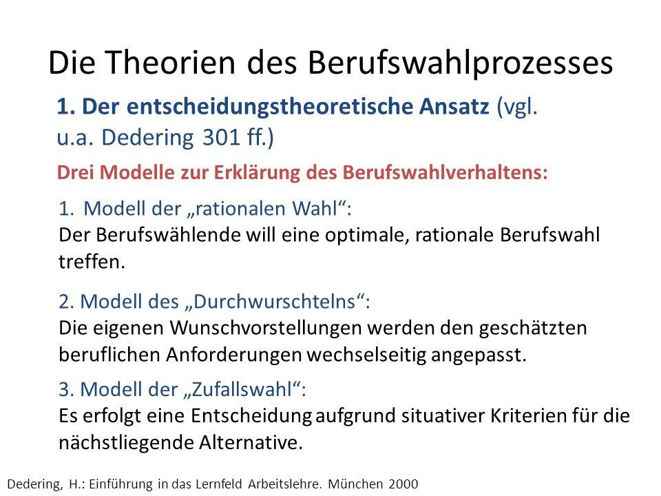 Die Theorien des Berufswahlprozesses 1. Der entscheidungstheoretische Ansatz (vgl. u.a. Dedering 301 ff.) Dedering, H.: Einführung in das Lernfeld Arb