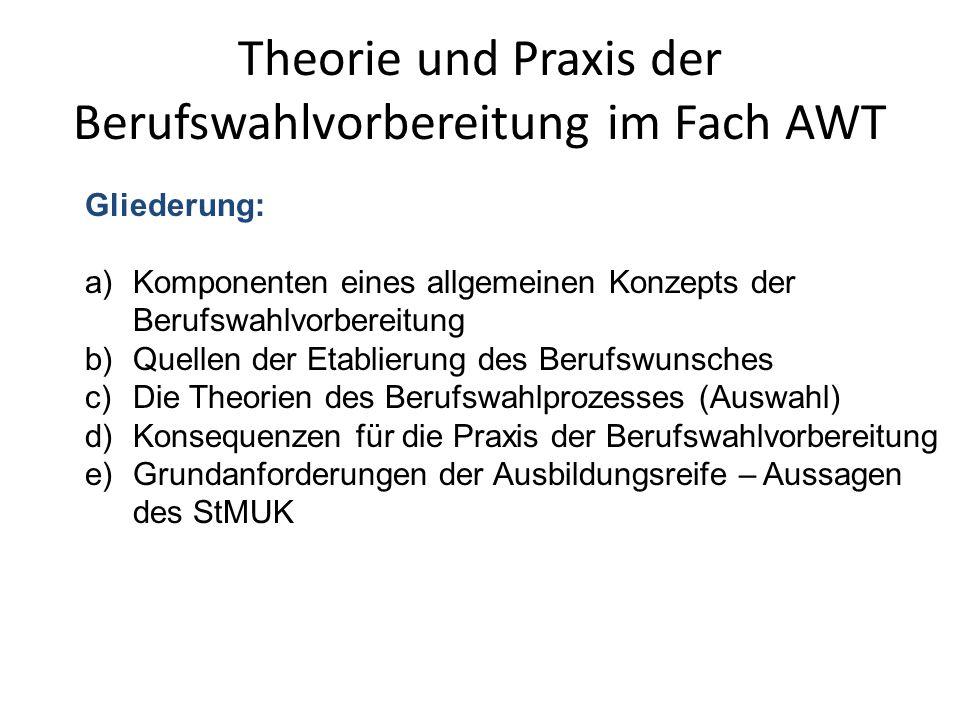 Theorie und Praxis der Berufswahlvorbereitung im Fach AWT Gliederung: a)Komponenten eines allgemeinen Konzepts der Berufswahlvorbereitung b)Quellen de