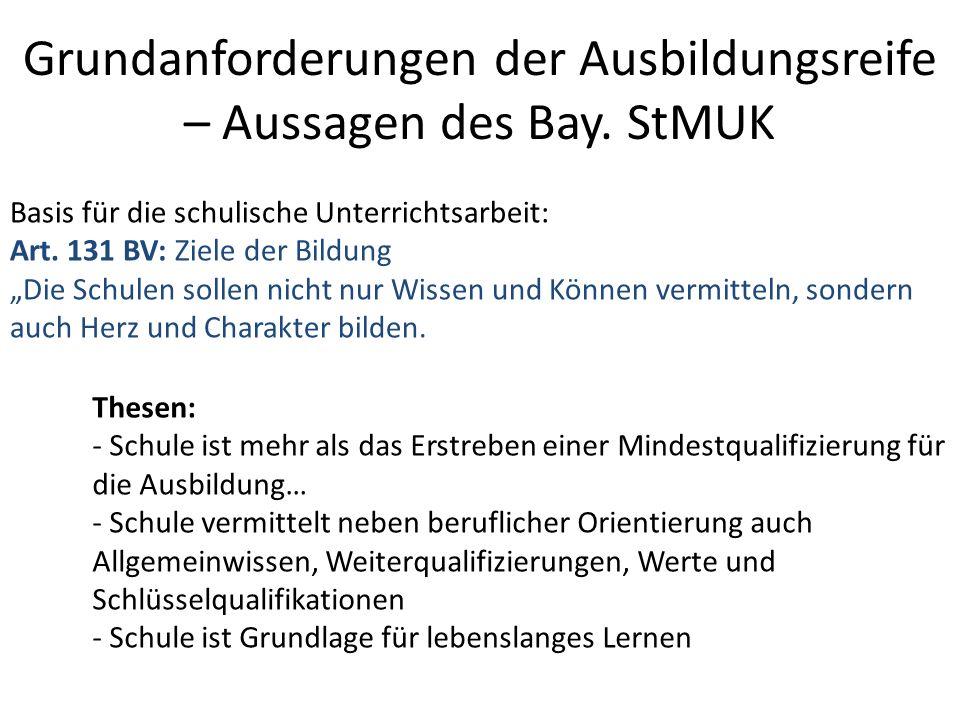 Grundanforderungen der Ausbildungsreife – Aussagen des Bay. StMUK Basis für die schulische Unterrichtsarbeit: Art. 131 BV: Ziele der Bildung Die Schul