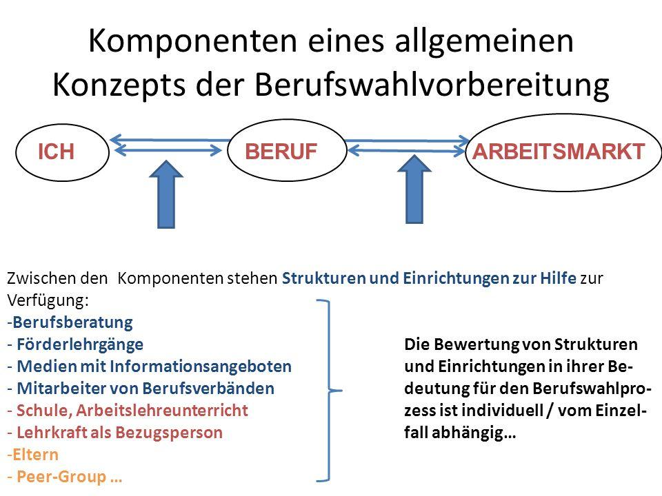 Komponenten eines allgemeinen Konzepts der Berufswahlvorbereitung ICHBERUFARBEITSMARKT Zwischen den Komponenten stehen Strukturen und Einrichtungen zu