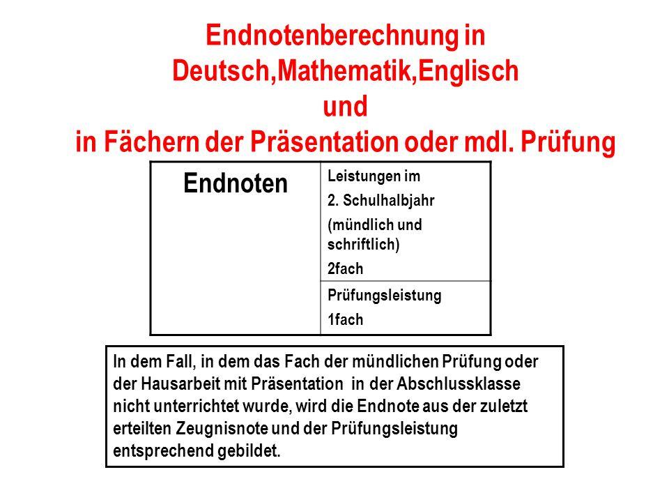 Endnotenberechnung in Deutsch,Mathematik,Englisch und in Fächern der Präsentation oder mdl. Prüfung Endnoten Leistungen im 2. Schulhalbjahr (mündlich