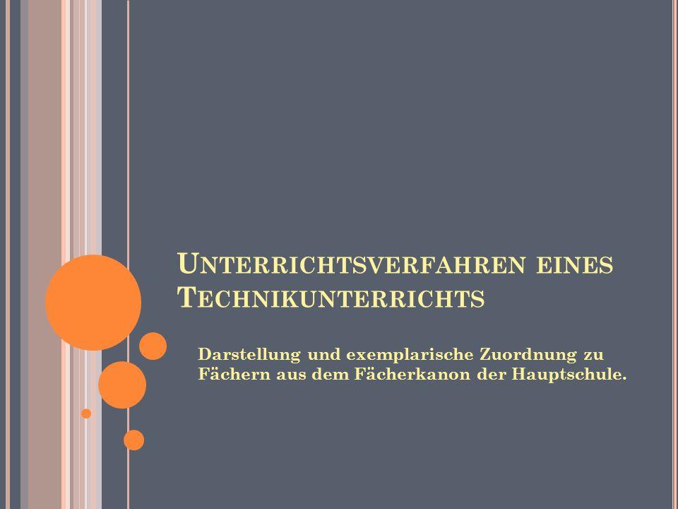 G LIEDERUNG 1.Unterrichts -verfahren im Technik- unterricht 2.