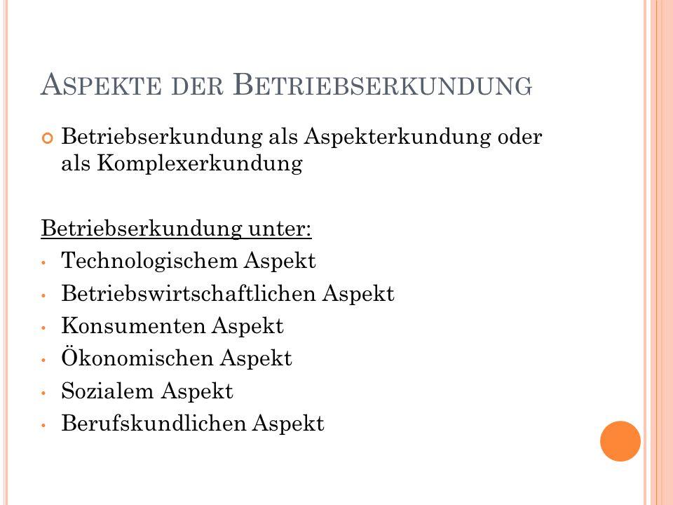 BEISPIELE FÜR EINE ERKUNDUNG IM TECHNIKUNTERRICHT 1.