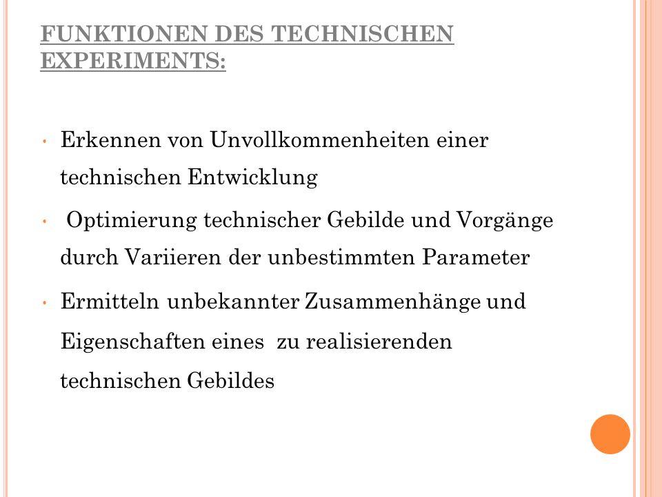 ORIENTIERUNGSHILFE (FÜR LEHRER) FÜR DIE GESTALTUNG DES EXPERIMENTALUNTERRICHTS 1.
