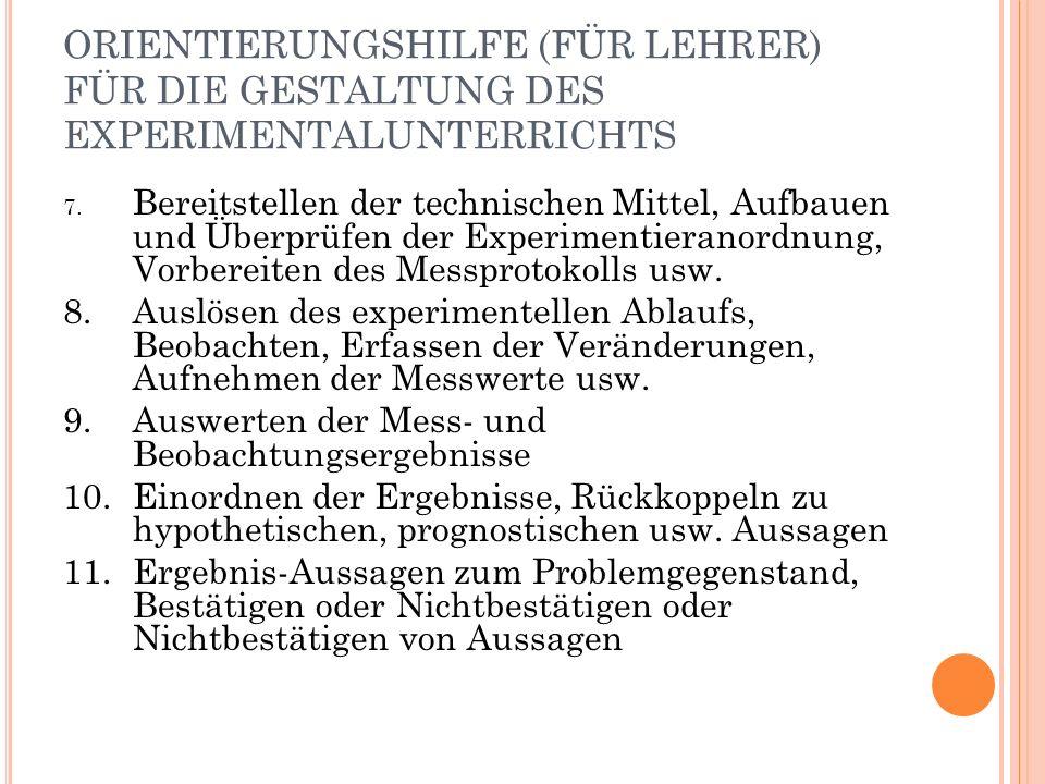 ORIENTIERUNGSHILFE (FÜR SCHÜLER) FÜR DIE GESTALTUNG DES EXPERIMENTALUNTERRICHTS 1.