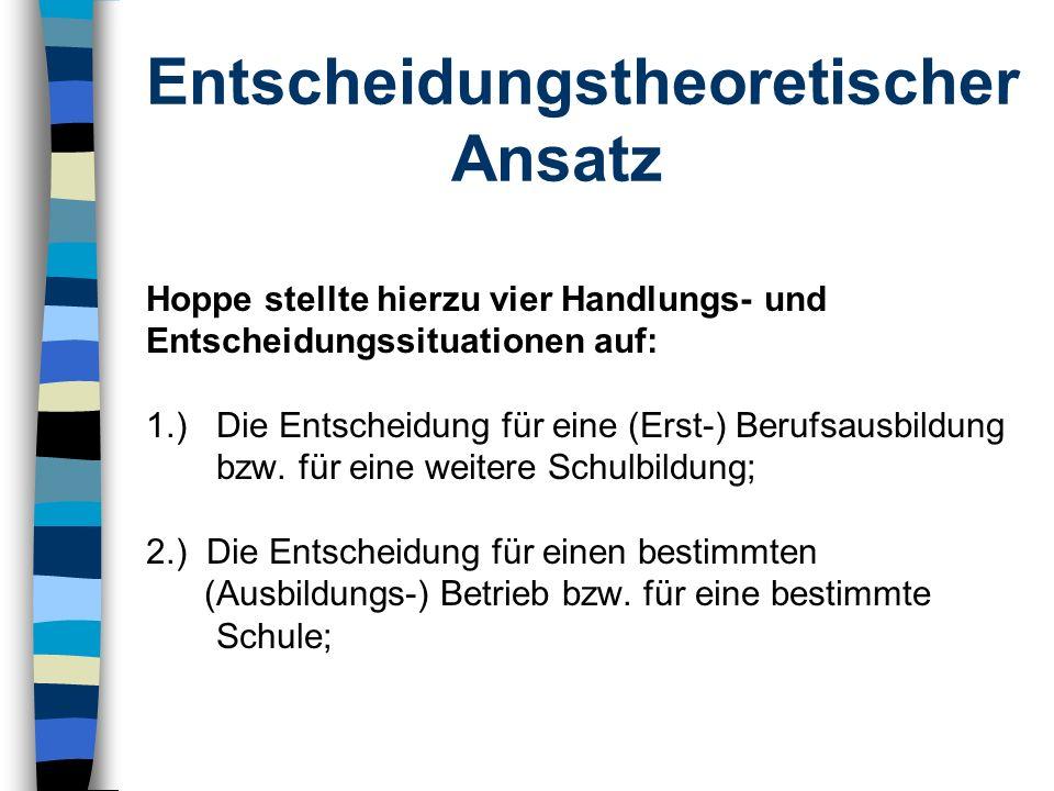 Entscheidungstheoretischer Ansatz Hoppe stellte hierzu vier Handlungs- und Entscheidungssituationen auf: 1.) Die Entscheidung für eine (Erst-) Berufsa