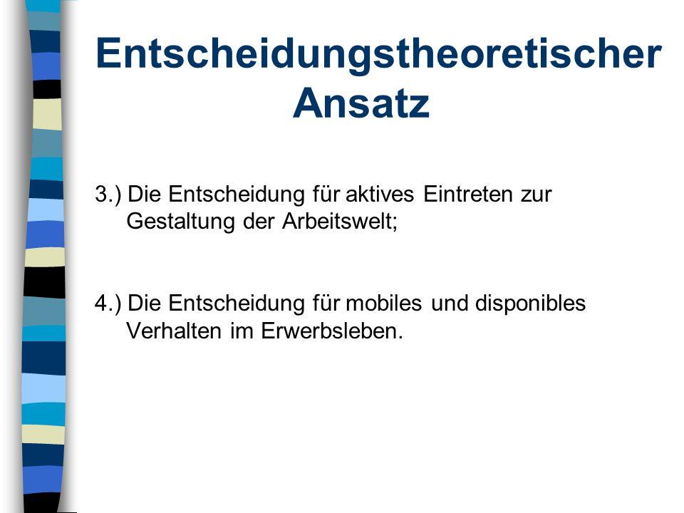 Entscheidungstheoretischer Ansatz 3.) Die Entscheidung für aktives Eintreten zur Gestaltung der Arbeitswelt; 4.) Die Entscheidung für mobiles und disp