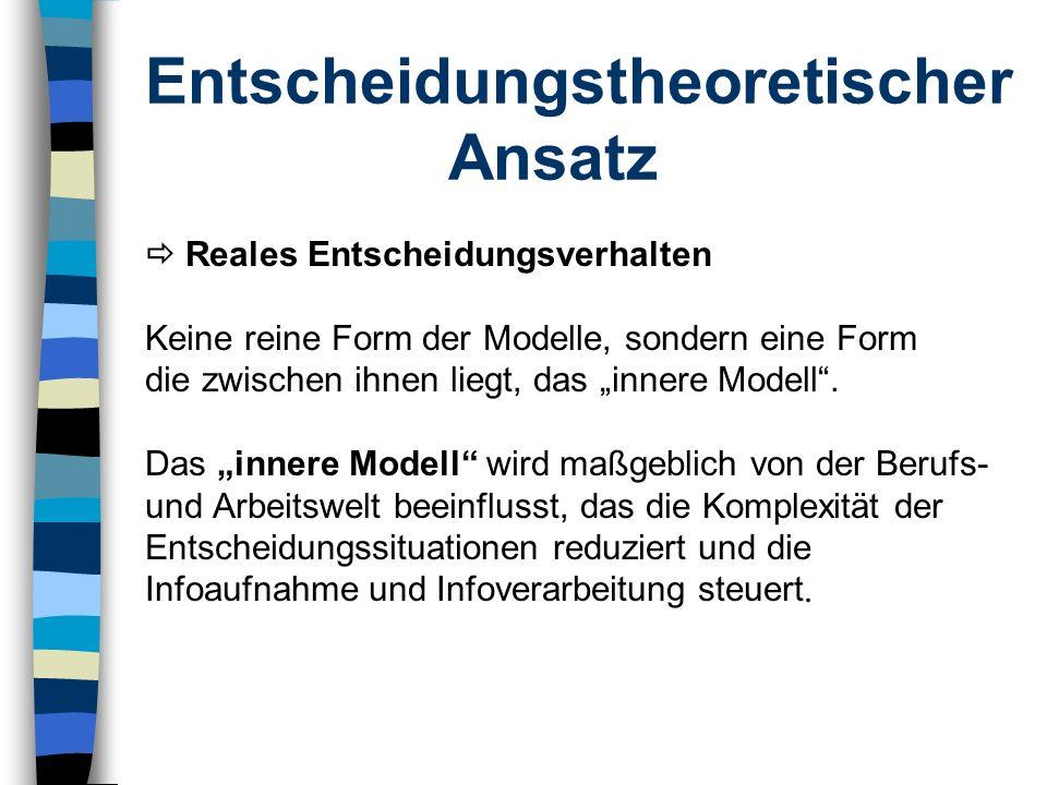 Entscheidungstheoretischer Ansatz Reales Entscheidungsverhalten Keine reine Form der Modelle, sondern eine Form die zwischen ihnen liegt, das innere M