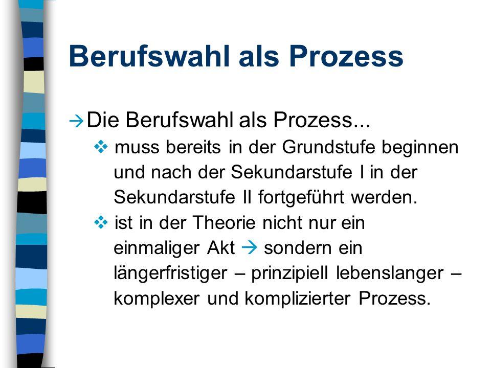 Berufswahl als Prozess Die Berufswahl als Prozess... muss bereits in der Grundstufe beginnen und nach der Sekundarstufe I in der Sekundarstufe II fort