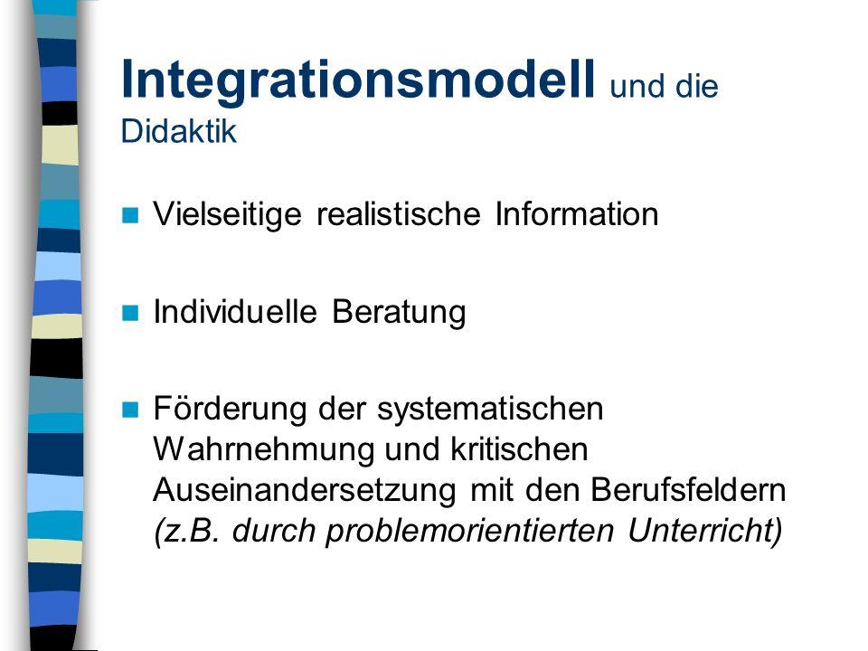 Integrationsmodell und die Didaktik Vielseitige realistische Information Individuelle Beratung Förderung der systematischen Wahrnehmung und kritischen