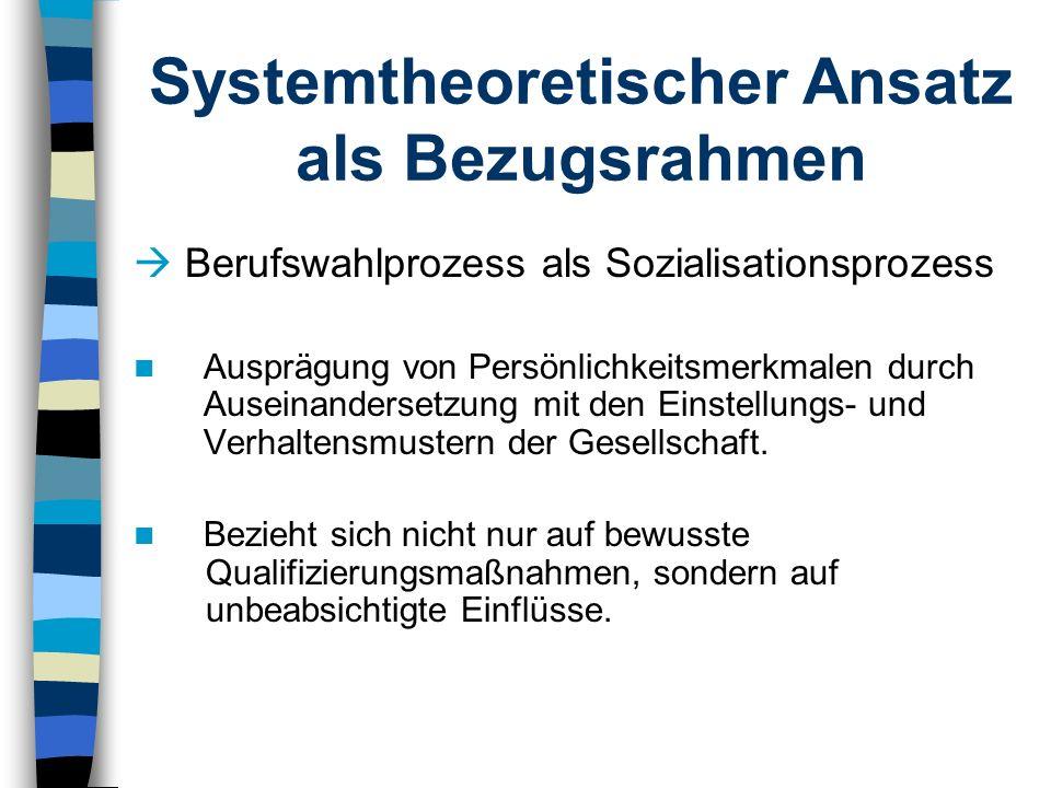 Systemtheoretischer Ansatz als Bezugsrahmen Berufswahlprozess als Sozialisationsprozess Ausprägung von Persönlichkeitsmerkmalen durch Auseinandersetzu