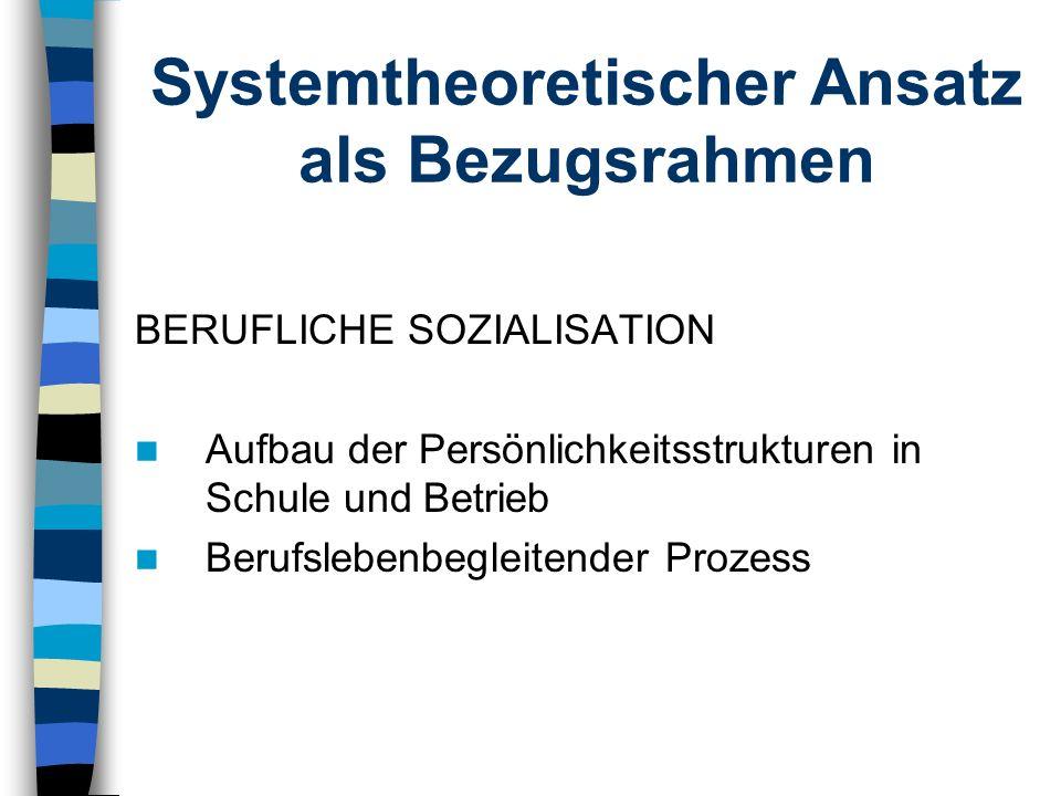 Systemtheoretischer Ansatz als Bezugsrahmen BERUFLICHE SOZIALISATION Aufbau der Persönlichkeitsstrukturen in Schule und Betrieb Berufslebenbegleitende