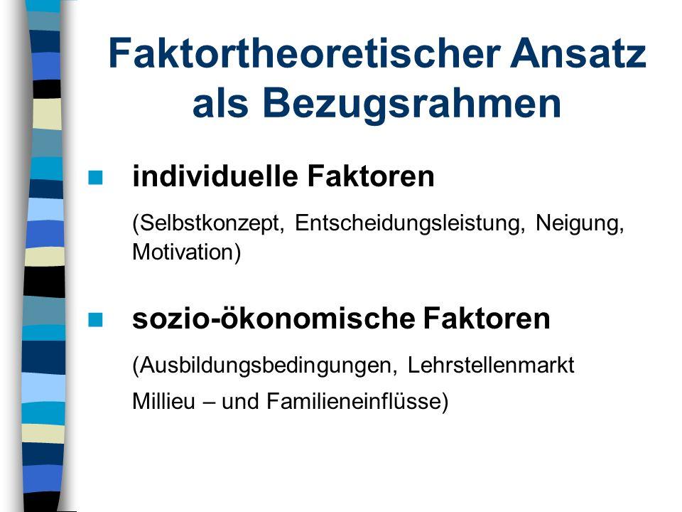Faktortheoretischer Ansatz als Bezugsrahmen individuelle Faktoren (Selbstkonzept, Entscheidungsleistung, Neigung, Motivation) sozio-ökonomische Faktor