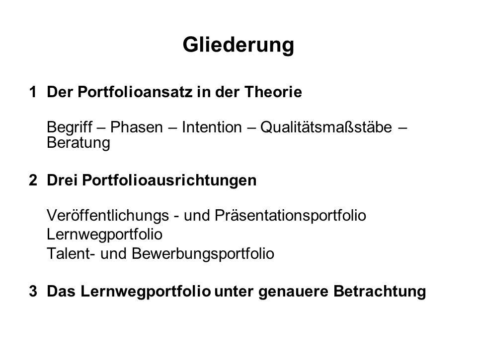 Gliederung 1Der Portfolioansatz in der Theorie Begriff – Phasen – Intention – Qualitätsmaßstäbe – Beratung 2Drei Portfolioausrichtungen Veröffentlichu