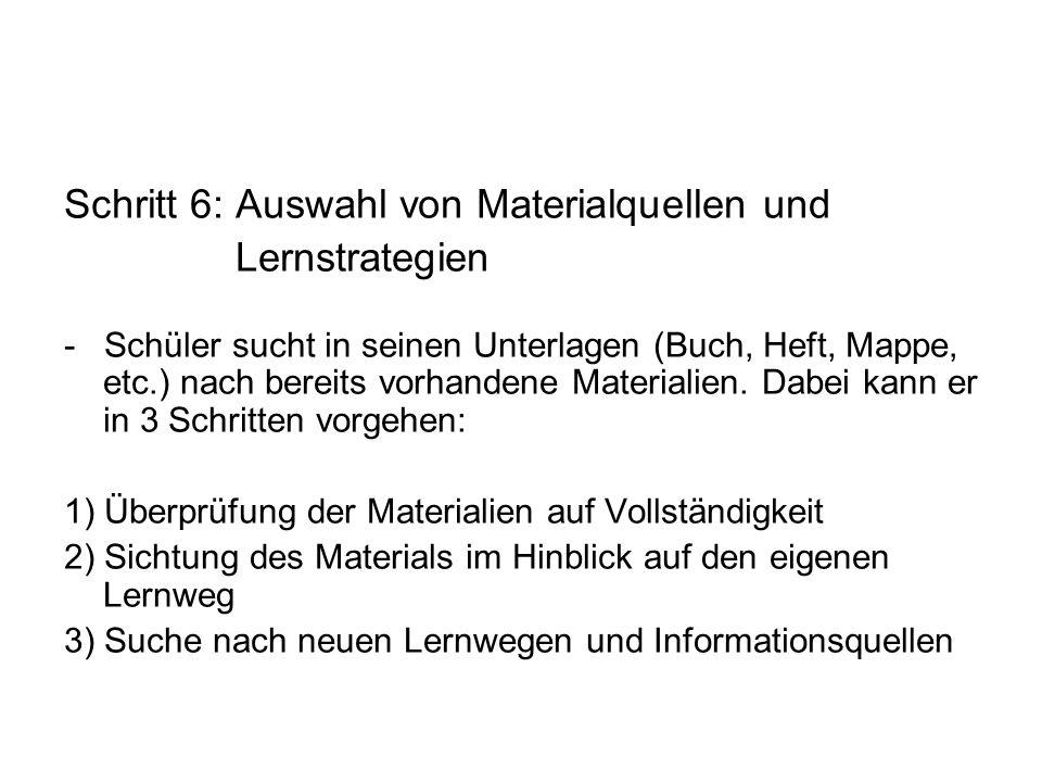 Schritt 6: Auswahl von Materialquellen und Lernstrategien - Schüler sucht in seinen Unterlagen (Buch, Heft, Mappe, etc.) nach bereits vorhandene Mater