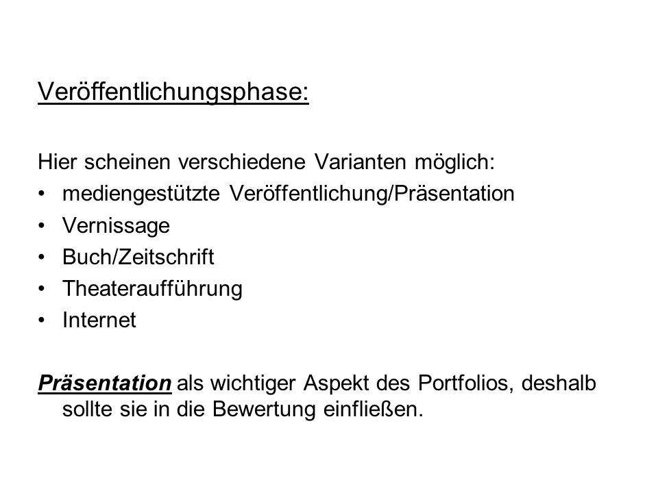 Literaturgrundlage: Endres, Wolfgang (Hrsg.)/Wiedenhorn, Thomas/ Engel, Anja: Das Portfolio in der Unterrichtspraxis.