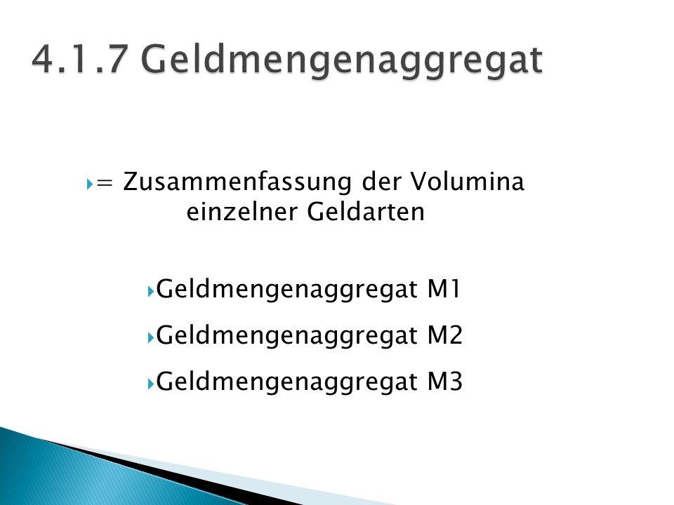 = Zusammenfassung der Volumina einzelner Geldarten Geldmengenaggregat M1 Geldmengenaggregat M2 Geldmengenaggregat M3