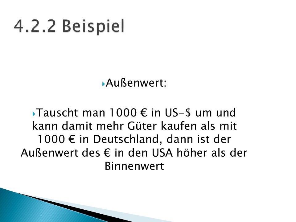 Außenwert: Tauscht man 1000 in US-$ um und kann damit mehr Güter kaufen als mit 1000 in Deutschland, dann ist der Außenwert des in den USA höher als d