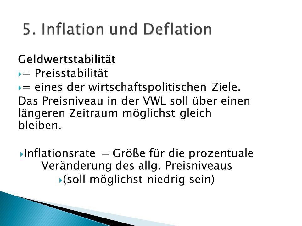 Geldwertstabilität = Preisstabilität = eines der wirtschaftspolitischen Ziele. Das Preisniveau in der VWL soll über einen längeren Zeitraum möglichst