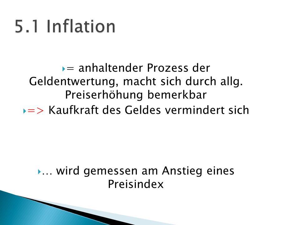 = anhaltender Prozess der Geldentwertung, macht sich durch allg. Preiserhöhung bemerkbar => Kaufkraft des Geldes vermindert sich … wird gemessen am An