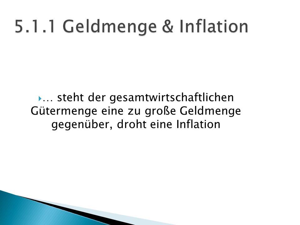 … steht der gesamtwirtschaftlichen Gütermenge eine zu große Geldmenge gegenüber, droht eine Inflation