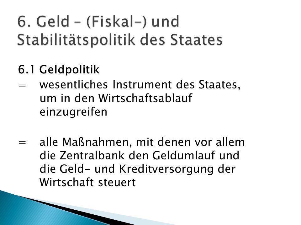 6.1 Geldpolitik = wesentliches Instrument des Staates, um in den Wirtschaftsablauf einzugreifen = alle Maßnahmen, mit denen vor allem die Zentralbank